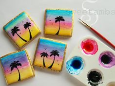 Hand painted sunset cookie tutorial: https://www.sweetambs.com/tutorial/hand-painted-cookies-tropical-sunset/