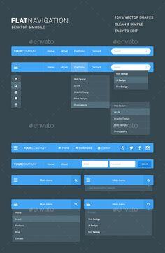 ◘ [GET]◁ Flat Navigation Kit Android Bar Bootstrap Desktop Dropdown Flat Wireframe Design, Navigation Design, Footer Design, Web Design Tips, Dashboard Design, Interface Design, Wireframe Web, Ux Design, Flat Design