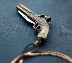 Gun Pocket Knife Necklace Brass Pistol Flintlock by contrary, My kind of pocketknife.
