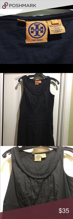 Black shift dress Black sleeveless shift dress with detailing around collar and pleated front. Perfect with flats or dress it up with pearls and heels! Tory Burch Dresses Midi