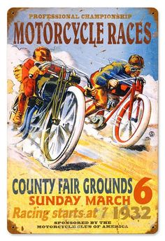 Retro Pro Motorcycle Races Metal Sign 16 x 24 Inches Bike Poster, Motorcycle Posters, Retro Motorcycle, Motorcycle Garage, Racing Motorcycles, Vintage Motorcycles, Indian Motorcycles, Vintage Racing, Vintage Cars