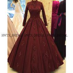 2020 New Muslim Evening Dress Heavy Beading Long Sleeves