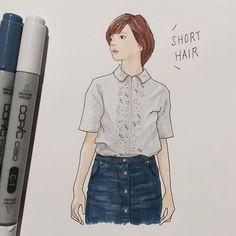 . ショートヘアのかわい子ちゃんを描いて、髪切りたい欲を一旦鎮める。 伸ばし途中の一番鬱陶しい長さから早く脱出したいよーぅ。 #セミロング目指してます . #絵をペンで描いてみた #ちょっと新鮮 . #イラスト #イラストレーション #ファッションイラスト #コーディネート #シンプルコーデ #ヘアスタイル #ショートヘア #コピック #一日一絵 #illust  #illustration #fashionsketch #fashionillustration #draw #drawing #cordinate #simplecoordinate #hairstyle #shorthair #copic #denim