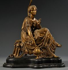 Орехи.ТВ - Группа «Искусство и культура» A Classical-style bronze figure of a Woman Seated and Pointing at a Globe after Pierre Eugene Emile Hebert (1828 to 1893)