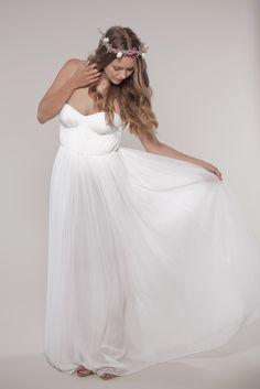 Bohemian Wedding Dress:  Chiffon Sweetheart Gown. $2,300.00 USD, via Etsy.