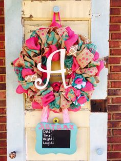 Make your child feel special with a children's wreath from Alexandra Seasonal Wreaths. Baby Door Wreaths, Hospital Door Wreaths, Hospital Door Hangers, Hospital Door Baby, Baby Kranz, Crafts To Sell, Diy Crafts, Driving Miss Daisy, Girl Baby Shower Decorations