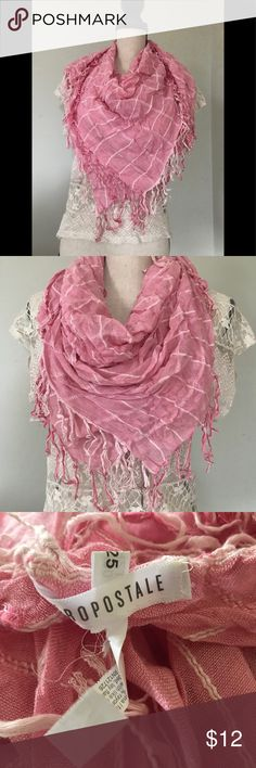 Aeropostale stripper pink / white fringed scarf Very versatile pink / white stripped scarf, not infinity's I can be worn multiple ways! Aeropostale Accessories Scarves & Wraps