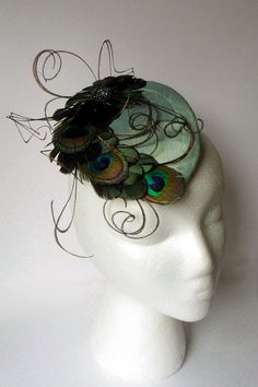 Teal Peacock Feather Silk Cocktail Hat by SouthernCarnival on Etsy, $115.00