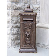 Lexington Antique Bronze Cast Mail Box With Pre-installed Lock and Keys