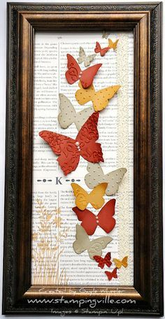 Handmade Mother's Day Gift ideas, Handmade gifts, DIY wall art, Stampin' Up! Beautiful Butterflies Big Shot Dies, how to make a butterfly wall hanging Butterfly Frame, Butterfly Crafts, Butterfly Artwork, Butterfly Mobile, Paper Art, Paper Crafts, Diy Crafts, Book Crafts, Diy Projects To Try