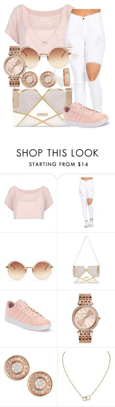 """""""Casual Rosegold"""" by darkskinn-awa ❤ liked on Polyvore featuring WithChic, Linda Farrow, River Island, adidas, MICHAEL Michael Kors, Roberto Coin, Cartier and Monki"""