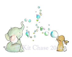 Nursery Art Bubble Party Art Print por trafalgarssquare en Etsy