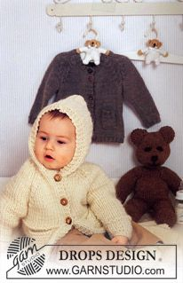 Knitted DROPS jacket with hood in Eskimo ~ DROPS Design