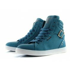 Blue Casual Men's Boots With Buckle and Rivets Design