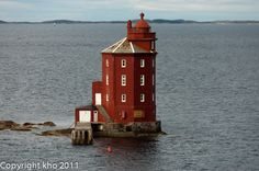 20,6 m tall Kjeungskær fyr is the only octogonal lighthouse in Norway and one of the most famous landmarks on a Hurtigruten journey. It was built in 1880 and automated in 1987. Until 1947 it was manned by a lighthouse keeper.  Photo by panoramio user Khopan