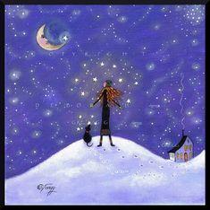 Hidden In Your Soul  a Stars Dreams Goals Winter Sky Moon PRINT by Deborah Gregg