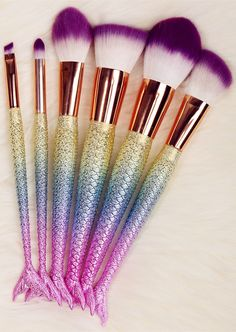 $11.73 6 Pcs Mermaid Shape Multifunction Makeup Brush Set - Dazzling