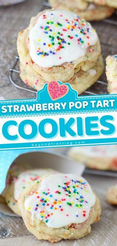 25 minutes · Vegetarian · Serves 24 · Surprise your friends with this dessert! Loaded with strawberry Pop Tarts and topped with vanilla glaze, these soft sugar cookies are like a party in your mouth. A touch of sprinkles makes this sweet… Basic Cookies, Buttery Cookies, Soft Sugar Cookies, Cookie Dough Truffles, Cookie Dough Recipes, Easy To Make Desserts, Easy Desserts, Strawberry Pop Tart, Best Dessert Recipes
