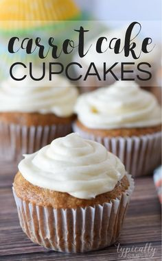 With a hint of cinnamon and a slightly sweet cream cheese frosting, these carrot cake cupcakes are a delicious dessert to serve for Easter or even at a spring brunch.