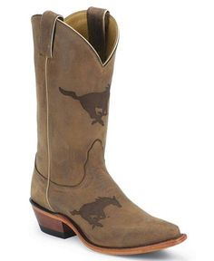 SMU - Southern Methodist University Mustangs  - snip toe cowboy / cowgirl boots with college logo