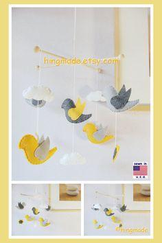 Baby Crib MobileBird Mobile Neutral Bird Mobile Yellow by hingmade