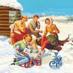 Charming vintage winter sports illustration from Swiss Lindt Chocolat ad.