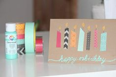 carte d'anniversaire coloré, comment faire une carte d'anniversaire soi meme Washi Tape Cards, Masking Tape, Diy Happy Birthday Card, Friend Birthday Card, Diy Birthday, Handmade Birthday Cards, Birthday Presents, Free Gift Cards, Free Gifts