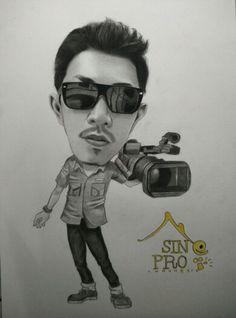 Pesanan sketsa wajah dari Bekasi bertemakan seorang videography #jasalukiswajah #lukisanwajah #karikatur #sketsawajah #sketsapensil #bekasi #jakarta