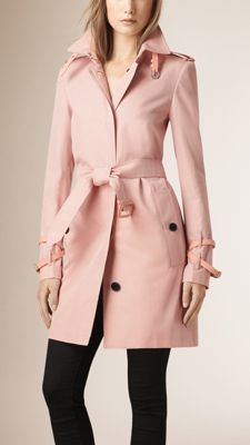 Burberry Ice Pink Leather Trim Cotton Gabardine Trench Coat