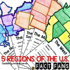 Regions of the United States: Fact Fan Distance Learning 4th Grade Social Studies, Social Studies Classroom, History Classroom, Teaching Social Studies, Teaching Tools, Us Geography, Geography Lessons, Teaching Geography, Study History