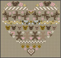 no color chart available, just use pattern chart as your color guide. or choose your own colors. Cross Stitch Heart, Cross Stitch Flowers, Embroidery Hearts, Cross Stitch Embroidery, Hand Embroidery Designs, Embroidery Patterns, Cross Stitch Designs, Cross Stitch Patterns, Stitch Witchery