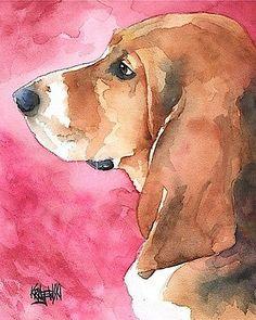 Basset Hound Dog 8x10 signed art PRINT RJK painting