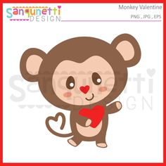 Sanqunetti Design: Cute little monkey holding a heart clipart. Great graphic to use for all your creative Valentine's Day projects! Valentines Day Clipart, Little Monkeys, Planner Stickers, Applique, Paper Crafts, Clip Art, Embroidery, Creative, Cute