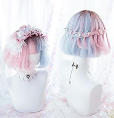Japan Fashion Harajuku Double Colors Short Curly Wigs Daily Wigs from lolita store - Bobfrisuren Kurz Kawaii Hairstyles, Hairstyles With Bangs, Pretty Hairstyles, Hairstyles 2016, Kawaii Wigs, Wig Styling, Lolita Hair, Lolita Makeup, Short Curly Wigs