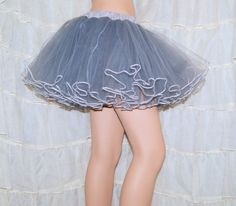 I'm thinking of doing a Totoro cosplay.... Grey White Piped Costume TuTu Crinoline Skirt by mtcoffinz on Etsy