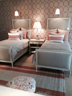Creative use of pattern in guest room with twin beds