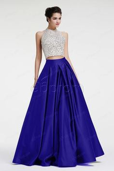 Royal blue beaded crystals prom dresses ball gown two piece prom dress long pageant dresses halter quinceanera dresses Royal Blue Dresses, Prom Dresses Blue, Pageant Dresses, Quinceanera Dresses, Trendy Dresses, Ball Dresses, Ball Gowns, Fashion Dresses, Dress Prom