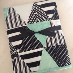 Black and Mint Triangle Baby Quilt by Nooches on Etsy