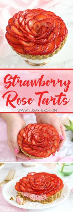 Strawberry Rose Tarts - a beautiful and romantic dessert! With a crunchy pistachio shortbread crust, delicious strawberry-rose cream, a a topper of sliced strawberries in the shape of a rose. | From SugarHero.com #strawberries #strawberrytarts #dessert #baking #tartrecipes #valentinesday #romanticdesserts