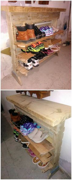 Quite a simple creation of the pallet is being contributed here for you through the shoe rack designing of the wood pallet. The shoe rack creation has been settled into the division of shelves that makes it turn out to be much more functional and helpful to use.