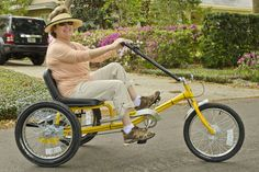 Coaster Heavy Duty Trike with rider in yellow