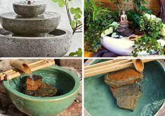 Como fazer fonte com bambu: 30 ideais incríveis | Como fazer em casa Patio Bar, Feng Shui, Plantar, Fountain, Aqua, Diy Crafts, Outdoor Decor, Garden, 30