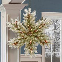 The Holiday Aisle Dunhill Snowy Bethlehem Star Lighted Fir Wreath Pre Lit Wreath, Indoor Wreath, Snowflake Wreath, Snowflakes, Christmas Crafts, Christmas Decorations, Christmas Ideas, Crochet Christmas Wreath, Christmas Arrangements