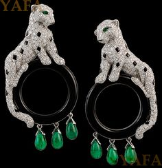 CARTIER Diamond,Emerald and Black Onyx 'Windsor Panthere' Earrings