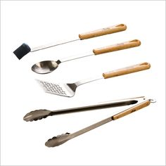 These long  wooden handle BBQ accessories add flavour to your BBQ season with out a fire hazard. These items are ideal for cooking oven an open fire or grill. Hand wash for best results. C$120.00 #fathersday #dad #gifts