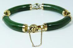 jade jewelry of china | 111 - 14K Y.G. & CHINESE CARVED GEM JADE BRACELET