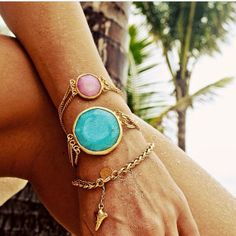 New Three's Company Jade Bracelets,  & Braided Bracelet with shark tooth dangle.