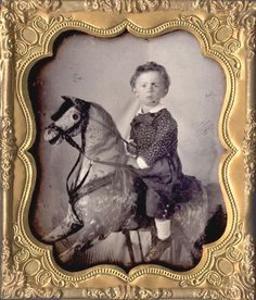 ca. 1855-60, [tintype portrait of a young boy on a rocking horse] via I Photo Central