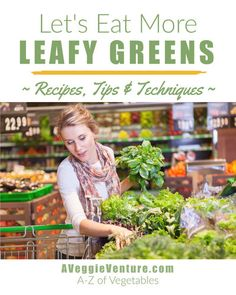 Trying to eat more greens? Tired of the same-old spinach? Find new inspiration in this collection of seasonal recipes for Leafy Greens ♥ AVeggieVenture.com. Savory to sweet, salads to sides, soups to supper, sandwiches to smoothies, simple to special. Many Weight Watchers, vegan, gluten-free, low-carb, paleo, whole30 recipes. Spinach Recipes, Vegetable Recipes, Beet Soup, Lentil Salad, Low Carb Vegetables, Veggies, Bok Choy Salad, Bitter Greens