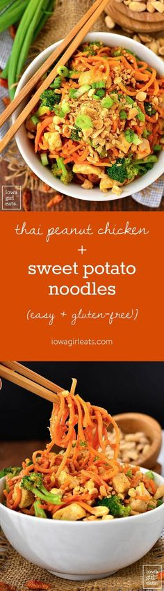 Thai Peanut Chicken and Sweet Potato Noodles are a healthy and gluten-free twist on your favorite Thai takeout order. Easy, colorful, and delicious! | http://iowagirleats.com